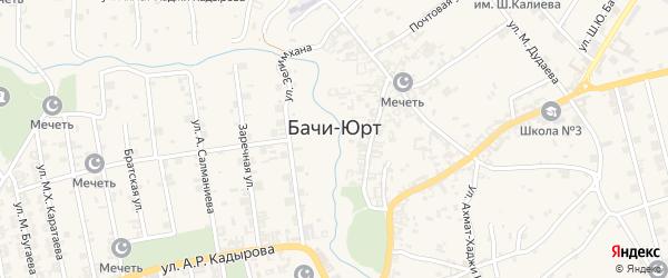 Западная улица на карте села Бачи-Юрт с номерами домов