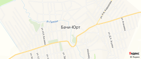 Карта села Бачи-Юрт в Чечне с улицами и номерами домов