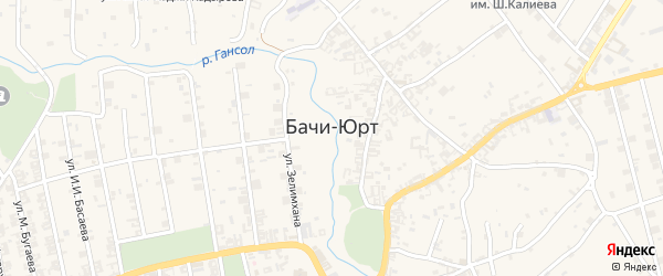 Улица Им ВОВ М.Бугаева на карте села Бачи-Юрт с номерами домов