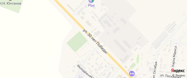Улица 30 лет Победы на карте Ядрина с номерами домов