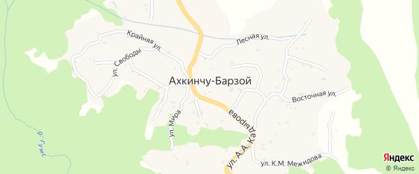 Молодежная улица на карте села Ахкинчу-Барзой с номерами домов