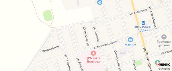 Юбилейная улица на карте Ядрина с номерами домов