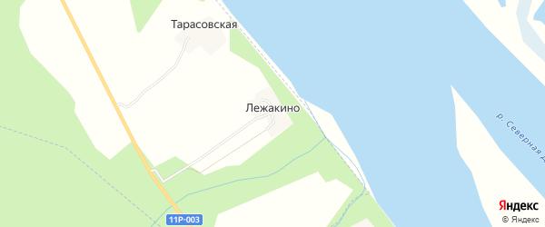 Карта деревни Лежакино в Архангельской области с улицами и номерами домов