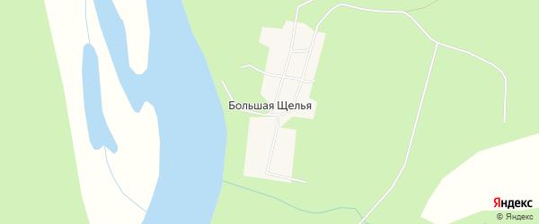 Карта поселка Большей Щельи в Архангельской области с улицами и номерами домов