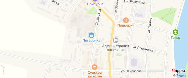 Садовая улица на карте деревни Нагорного с номерами домов