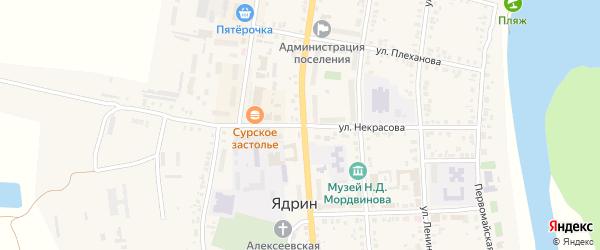 Улица Некрасова на карте Ядрина с номерами домов