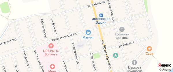 Советская улица на карте Ядрина с номерами домов