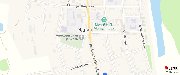 Улица 50 лет Октября на карте Ядрина с номерами домов
