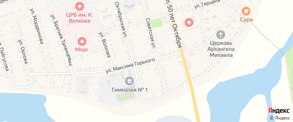 Улица М.Горького на карте Ядрина с номерами домов