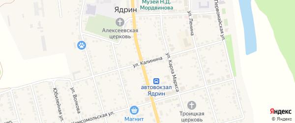 Улица Калинина на карте Ядрина с номерами домов