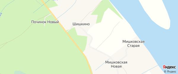 Карта деревни Шишкино в Архангельской области с улицами и номерами домов