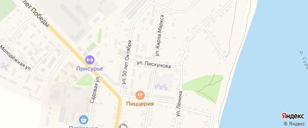 Улица Пискунова на карте Ядрина с номерами домов