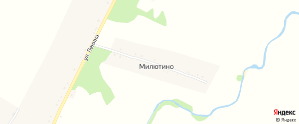 Улица Родионова на карте деревни Милютино с номерами домов