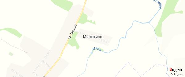 Карта деревни Милютино в Чувашии с улицами и номерами домов