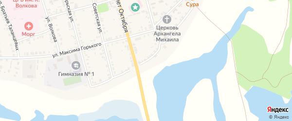 Улица С.Разина на карте Ядрина с номерами домов