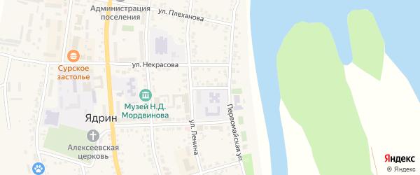 Стадионная улица на карте Ядрина с номерами домов