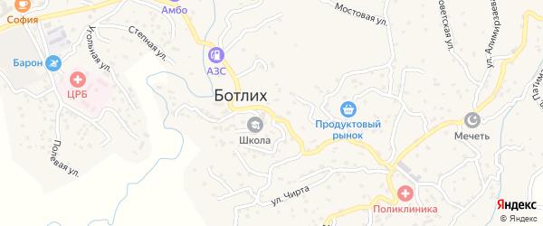 Центральная улица на карте села Ботлиха с номерами домов