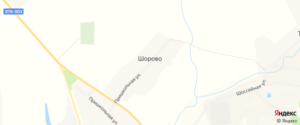 Карта деревни Шорово в Чувашии с улицами и номерами домов
