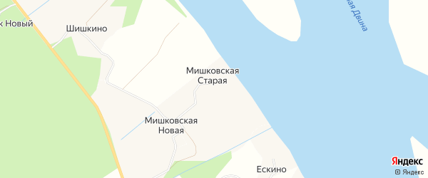 Карта Мишковской Старой деревни в Архангельской области с улицами и номерами домов