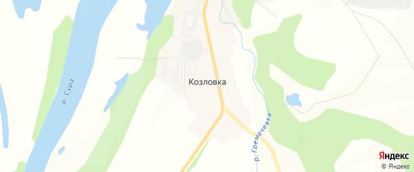 Карта деревни Козловки в Чувашии с улицами и номерами домов