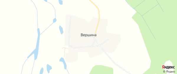 Карта деревни Вершины в Архангельской области с улицами и номерами домов