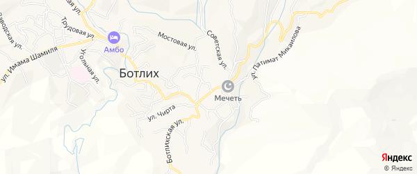 Карта села Ботлиха 1 (Микрорайона) в Дагестане с улицами и номерами домов