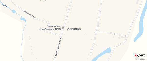Солнечная улица на карте деревни Аликово с номерами домов