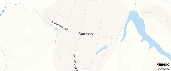Карта деревни Аликово в Чувашии с улицами и номерами домов