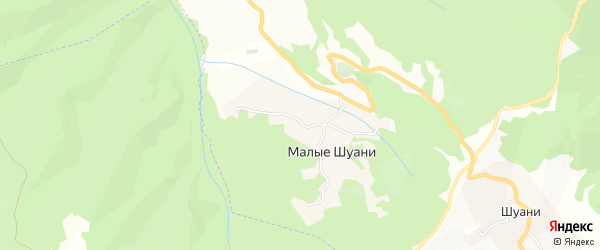 Карта села Малых Шуани в Чечне с улицами и номерами домов