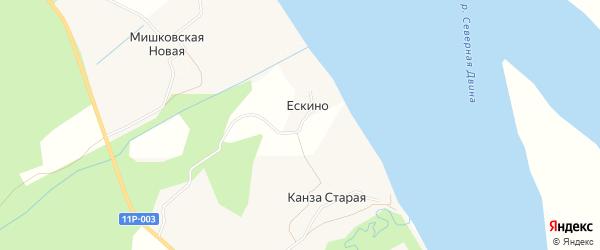 Карта деревни Ескино в Архангельской области с улицами и номерами домов