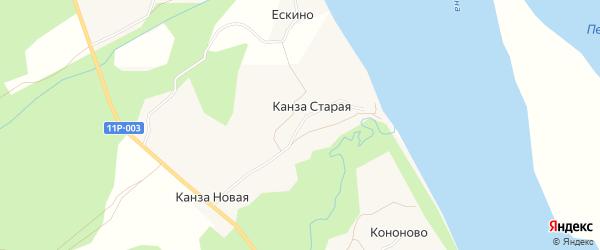 Карта Канзы Старой деревни в Архангельской области с улицами и номерами домов