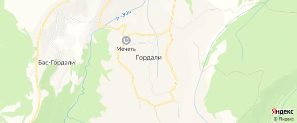 Карта села Гордали в Чечне с улицами и номерами домов