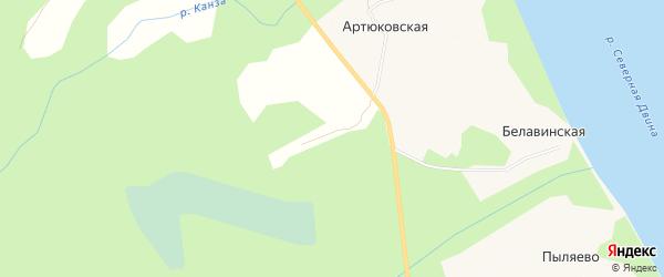 Карта Артюковской деревни в Архангельской области с улицами и номерами домов