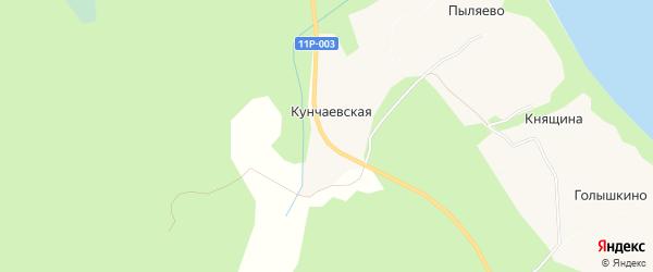 Карта Кунчаевской деревни в Архангельской области с улицами и номерами домов