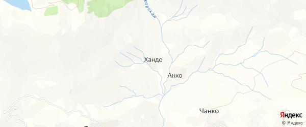 Карта хутора Хандо в Дагестане с улицами и номерами домов