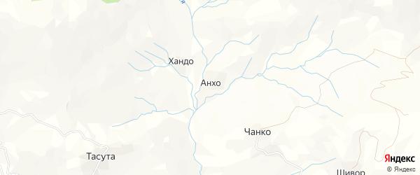 Карта хутора Анхо в Дагестане с улицами и номерами домов