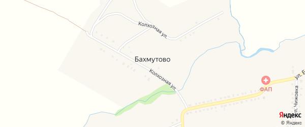 Колхозная улица на карте деревни Бахмутово с номерами домов