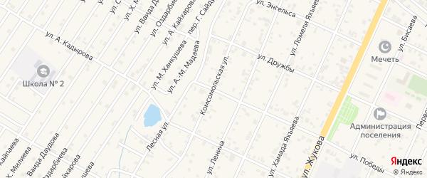 Комсомольская улица на карте поселка Ойсхары с номерами домов