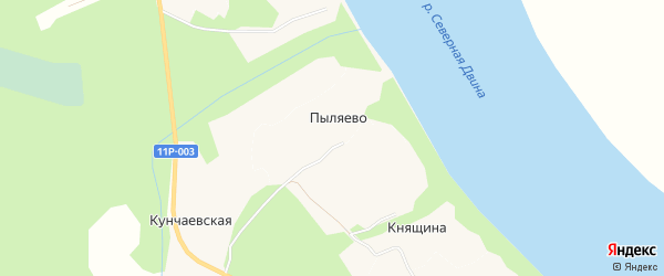 Карта деревни Пыляево в Архангельской области с улицами и номерами домов