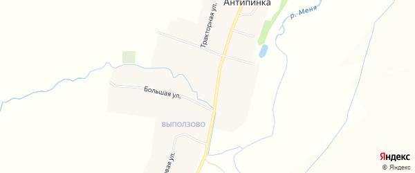 Карта села Антипинка в Чувашии с улицами и номерами домов