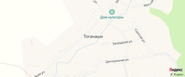 Запрудная улица на карте деревни Тоганаши с номерами домов
