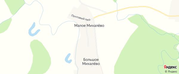 Карта деревни Малое Михалево в Архангельской области с улицами и номерами домов