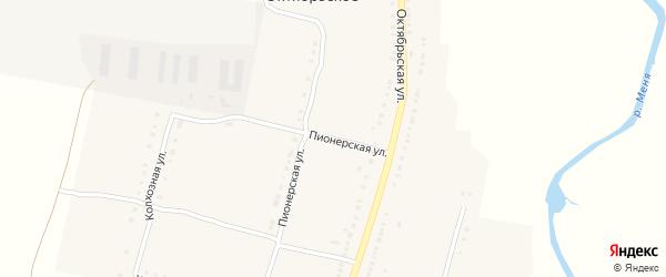 Пионерская улица на карте Октябрьского села с номерами домов