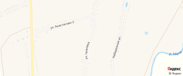 Улица Чижовка на карте деревни Бахмутово с номерами домов