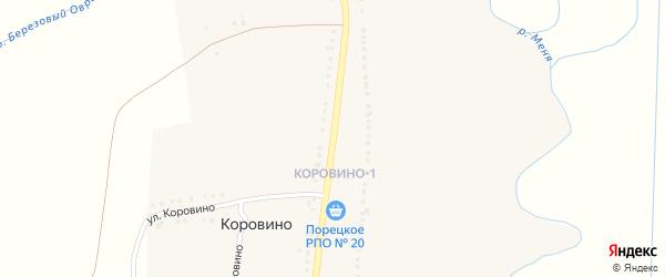 Улица Коровино на карте деревни Коровино с номерами домов