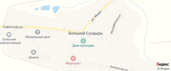 Улица Мира на карте села Большого Сундыря с номерами домов