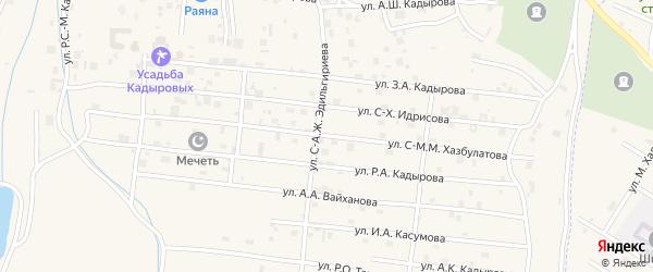 Улица С-М.М.Хазбулатова на карте села Центарой с номерами домов