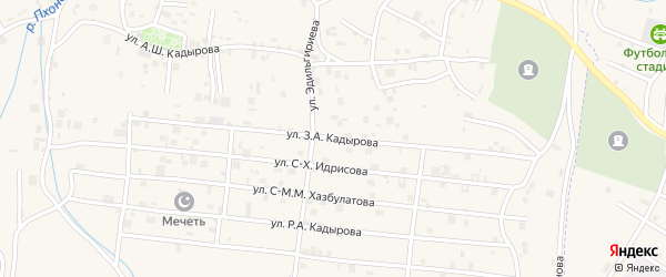 Улица З.А.Кадырова на карте села Центарой с номерами домов
