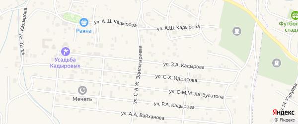 Улица Р.С.Кадырова на карте села Центарой с номерами домов