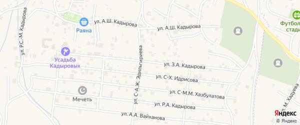 Улица А.Ш. Кадырова на карте села Центарой с номерами домов